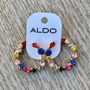 Aldo Colorful Crystal Hoop Earrings
